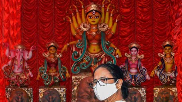 Last week, Mamata Banerjee had urged Durga Puja committees not to allow people without masks in pandal during Puja celebrations (PTI)