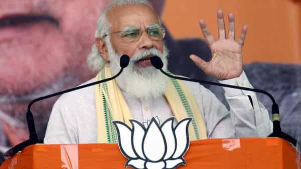 Prime Minister Narendra Modi addresses supporters during an election meeting, ahead of Bihar Assembly elections, at Biada Maida in Sasaram on Friday.