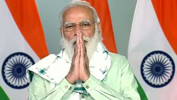 Prime Minister Narendra Modi addresses during the inauguration of three key projects in Gujarat, via video link, in New Delhi on Saturday (ANI)