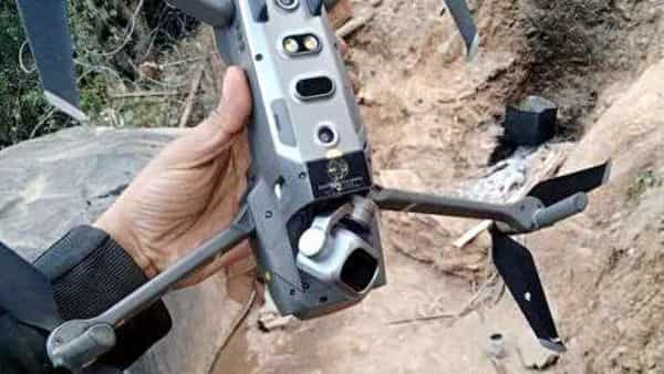 Photo of the Pakistan Amry quadcopter shot down by the Indian Army in the Keran Sector of Jammu and Kashmir on Saturday. (ANI Photo)