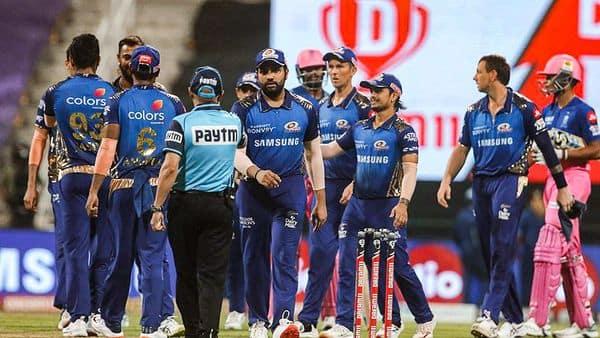 Mumbai Indians players after defeating Rajasthan Royals by 57 runs during IPL 2020 cricket match, at Sheikh Zayed Stadium in Abu Dhabi, United Arab Emirates. (PTI)