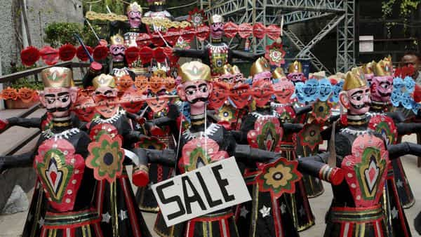New Delhi: Effigies of evil king Ravana, in various shapes, put on display for sale to support Blind Relief Association, in New Delhi, Saturday, Oct. 24, 2020. (PTI Photo)(PTI24-10-2020_000163B) (PTI)