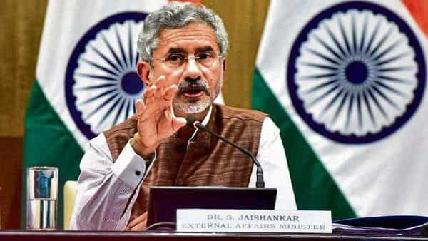 External Affairs Minister S Jaishankar addresses the media during a press conference on completion of first 100 days of Ministry of External Affairs
