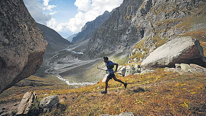Kieren D'Souza during his pioneering run up and down a Himalayan peak in Himachal Pradesh in under 20 hours. (Photo: 4Play)