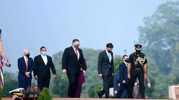 US Secretaries of State and Defense, Michael R. Pompeo and Mark T. Esper at the National War Memorial, in New Delhi on Tuesday. (ANI)