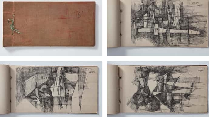 Ram Kumar's sketch book and details from it. Courtesy: Vadehra Art Gallery
