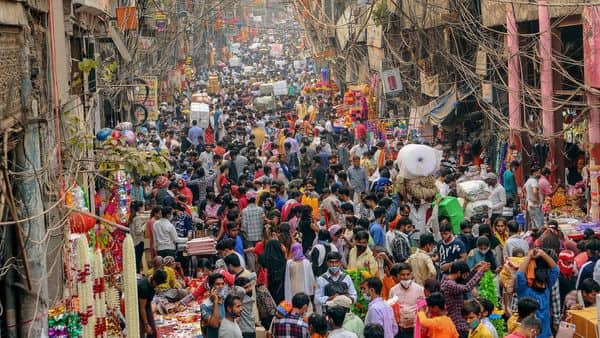 A view of the crowd at Sadar Bazar, Delhi as people buy for the festivals, ignoring social distancing norms (PTI)