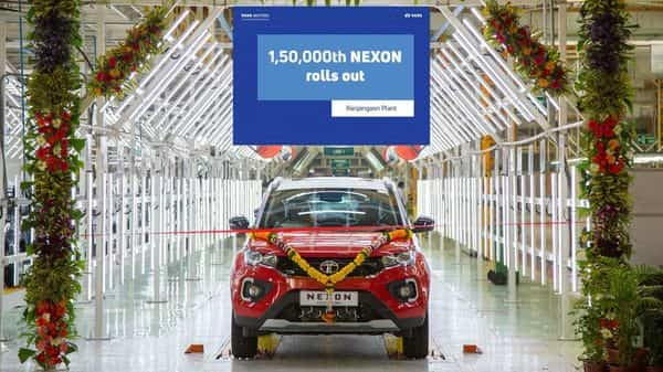 The 1,50,000th Tata Nexon being rolled out from the company's Ranjangaon facility in Pune