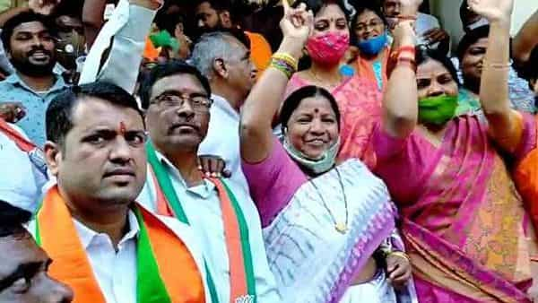 BJP supporters celebrate as the trend shows leading the party in Dubbak Assembly Bypolls, in Siddhipet on Tuesday (ANI)