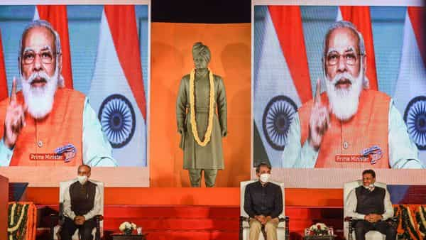 Prime Minister Narendra Modi addresses a gathering after virtually unveiling the statue of Swami Vivekananda at JNU campus. (PTI)