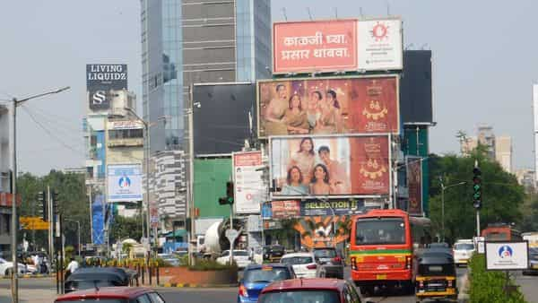 Advertising hoardings in Mumbai.