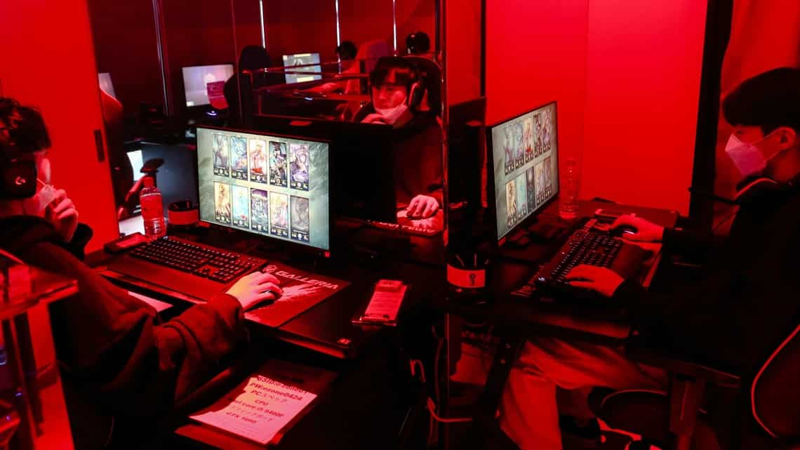 Gamers play the League of Legends computer game at an esports hotel in Osaka, Japan. (Photo credit: Buddhika Weerasinghe/Bloomberg)