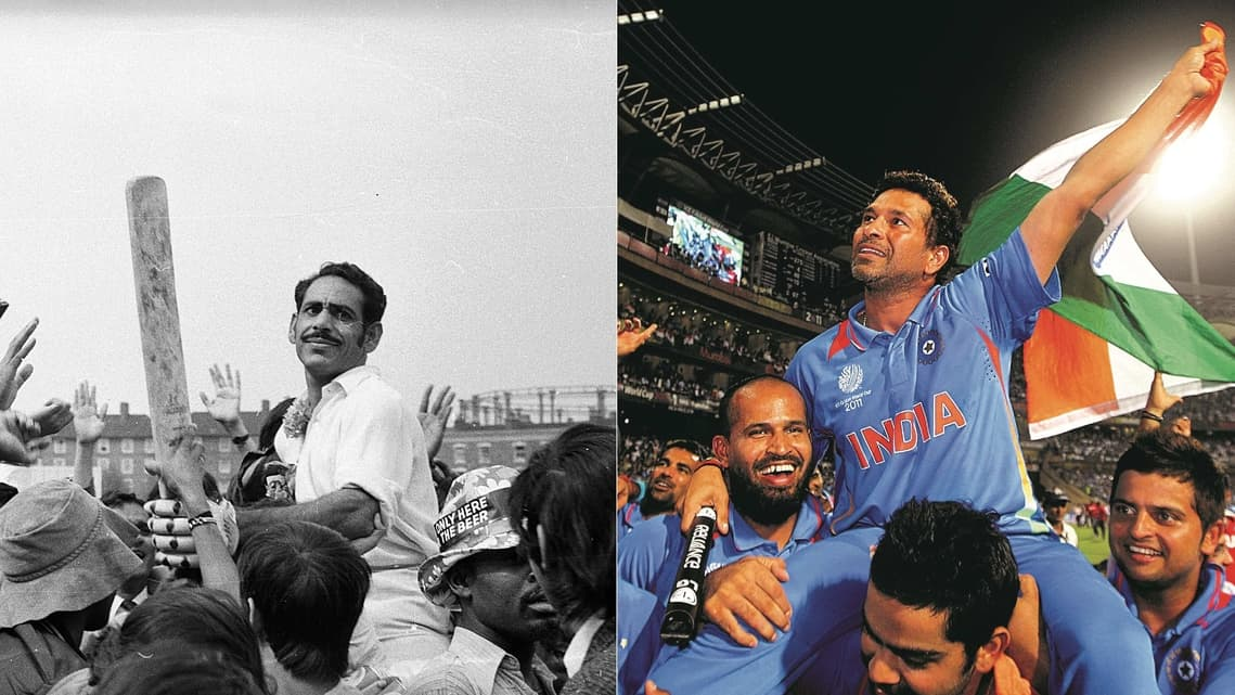 Abid Ali after India's first Test series victory against England, in 1971, and (right) Sachin Tendulkar held aloft by teammates after India's 2011 ODI World Cup win. Photos: Getty