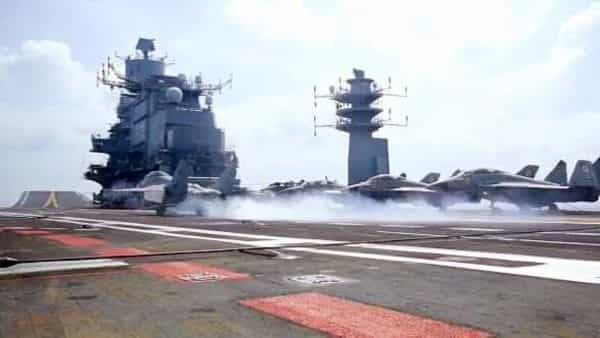 Flight operations underway on aircraft carrier INS Vikramaditya during the 2nd Phase of Malabar 2020 exercise  (ANI Photo)