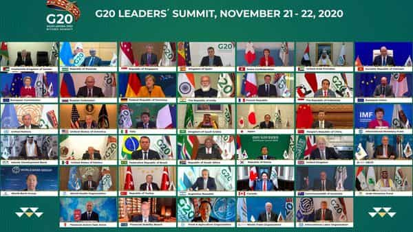 This handout photo provided by G20 Riyadh Summit, shows Saudi King Salman, center, and the rest of world leaders during a virtual G20 summit hosted by Saudi Arabia and held over video conference amid the Covid-19 pandemic, in Riyadh, Saudi Arabia, Saturday (AP)