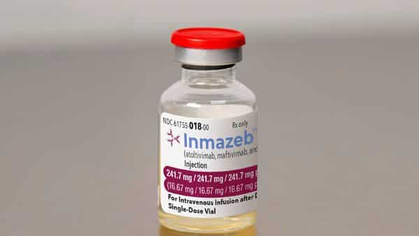 This image provided by Regeneron on Wednesday, Oct. 14, 2020, shows a vial of the company's Inmazeb medication. On Wednesday, the U.S. Food and Drug Administration said it has approved the drug for treating Ebola in both adults and children. (Regeneron via AP) (AP)