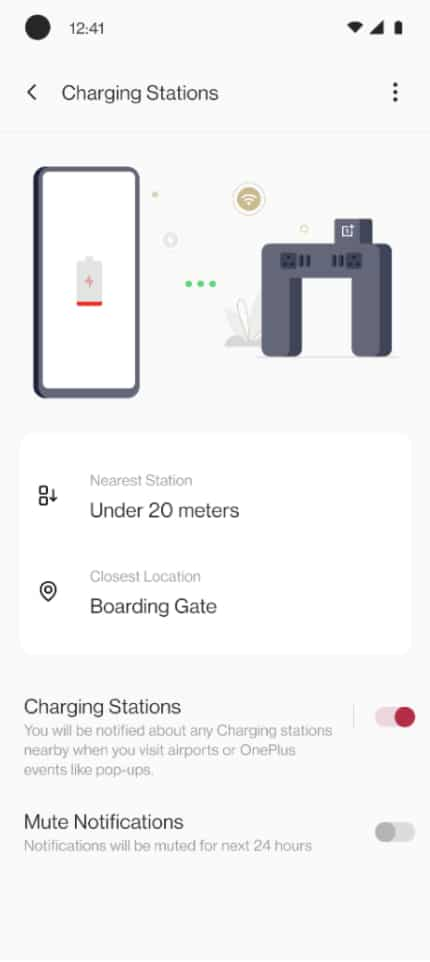 The charging station settings on the OnePlus device