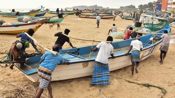 Mamallapuram: Fishermen shift their boats for safety following Cyclone Nivar alert, in Mamallapuram (PTI)