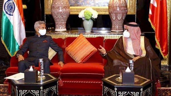 External Affairs Minister Dr. S. Jaishankar met with Foreign Minister of Bahrain Dr. Abdullatif bin Rashid Al Zayani, in Bahrain on Tuesday. (ANI)