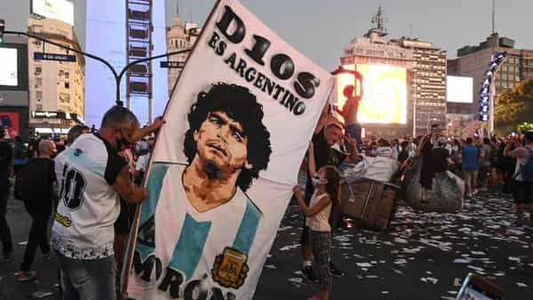 Fans of Argentinian football legend Diego Maradona (AFP)