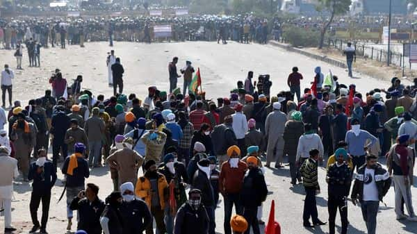 Heavy security deployment as farmers headed for 'Delhi Chalo' protest against farm laws, at Singhu Border in New Delhi on Friday (ANI)