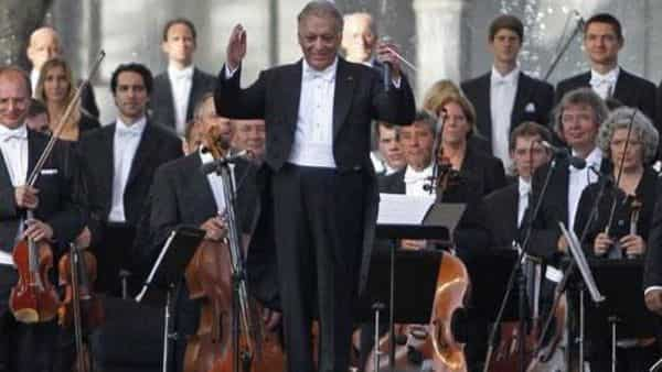 Zubin Mehta performing at a concert on the outskirts of Srinagar. (Reuters)