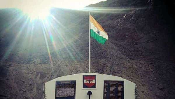 A memorial has been built at the unit level near the KM-120 post on the strategic road Durbuk-Shyok-Daulat Beg Oldie, Ladakh, for the 20 Indian soldiers who lost their lives in action against the Chinese Army in Galwan Valley after evicting them from an observation post near the Y-junction area there under Operation Snow Leopard. (ANI Photo)