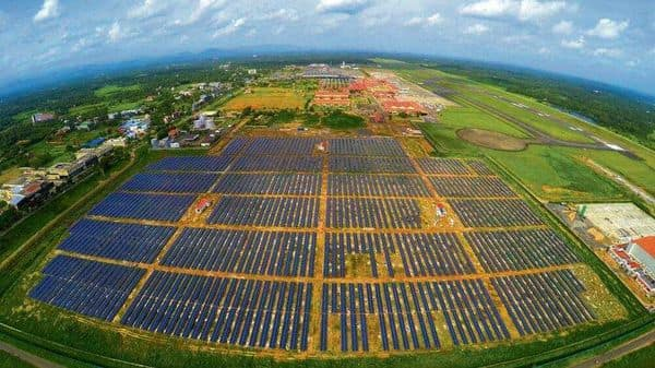 Aerial view of the solar park at Cochin International Airport. This is the world's first such facility to run exclusively on solar power.
