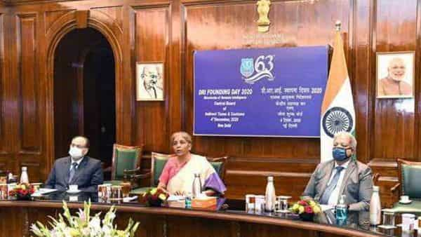 Union Minister for Finance Nirmala Sitharaman presides over the virtual celebration of the 63rd Founding Day of Directorate of Revenue Intelligence (DRI), in New Delhi  (ANI)