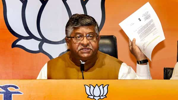 Union Law Minister Ravi Shankar Prasad addresses a press conference, at BJP headquarters in New Delhi Monday (PTI)