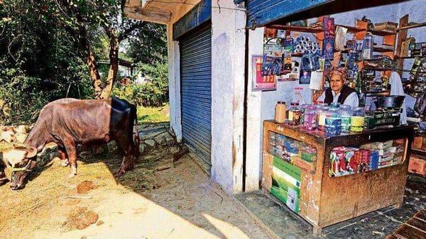 A shopkeeper awaits customers