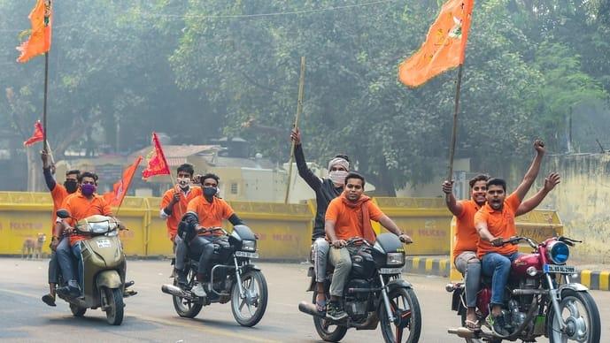 Activists of Vishva Hindu Mahasangh stage a protest against love jihad and religious conversion at Jantar Mantar in New Delhi on 8 November 2020.