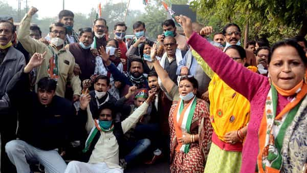 Congress activists shout slogans while demonstrating in support of Bharat Bandh  in Agra on Tuesday (Photo: ANI)