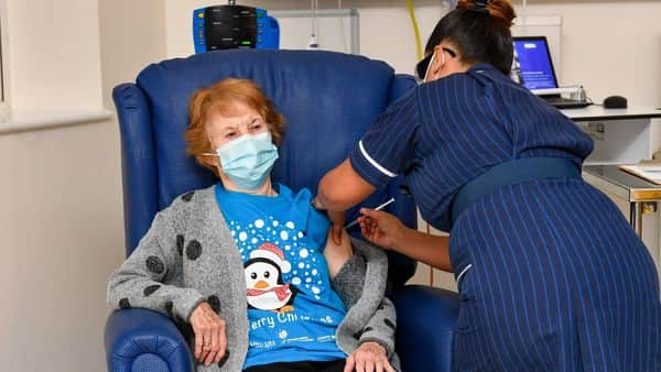Margaret Keenan, 90, becomes the first patient in the UK to receive the Covid-19 vaccine at University Hospital in Coventry. (Bloomberg)