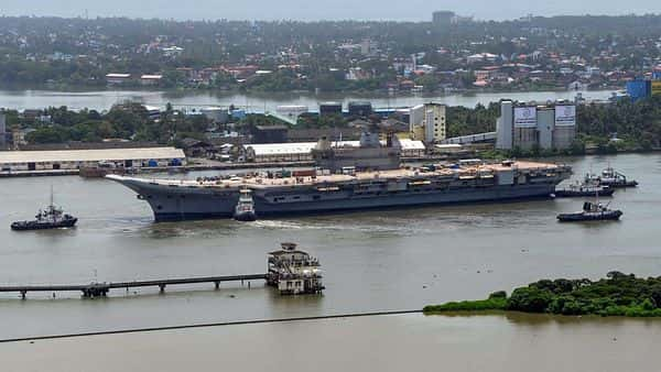 View of Cochin Shipyard Limited after Basin Trials of Indigenous Aircraft Carrier (IAC) were sucessfully conducted (PTI)
