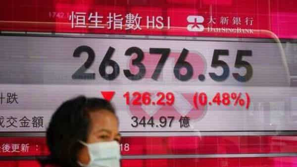 A woman wearing a face mask to protect against the coronavirus walks past a bank's electronic board showing the Hong Kong share index in Hong Kong, Thursday, Dec. 10, 2020. Stocks were mostly lower Thursday in Asia after weakness in technology companies' shares led an overnight decline on Wall Street. (AP Photo/Kin Cheung) (AP)