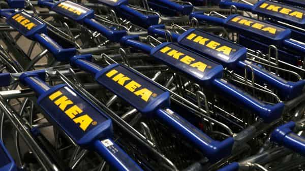 The IKEA logo is seen on shopping carts inside the new IKEA store in Navi Mumbai. (REUTERS)
