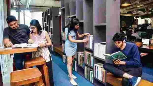 Leo Burnett's library lies at one end of the office, making it a quiet space to catch up on research and reading. Photo: Aniruddha Chowdhury/Mint