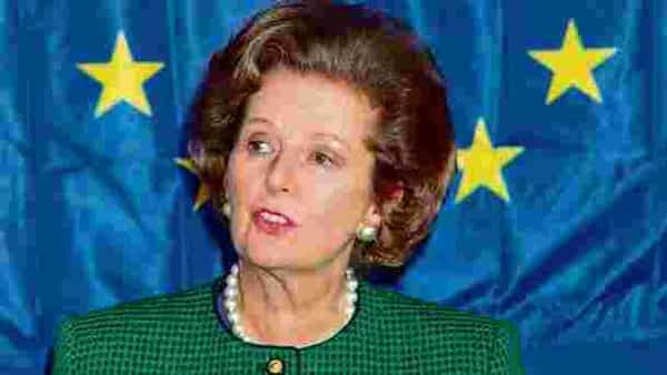 Margaret Thatcher branded the European commission's plans for a single currency as a 'rush of blood to the head'