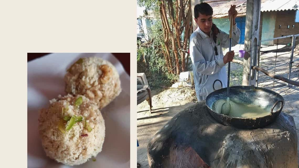 West Bengal's 'Joynagar'er mowa' (left); a vendor prepares 'Banni no mavo' in Gujarat (right). (Photos; Shirin Mehrotra)