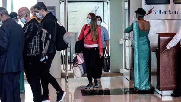 Ukraine passengers arrive at Mattala Rajapaksa International Airport in Mattala  (AFP)