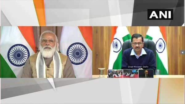 PM Modi, Delhi CM Arvind Kejriwal attend inauguration programme of India's first driverless train. (ANI)