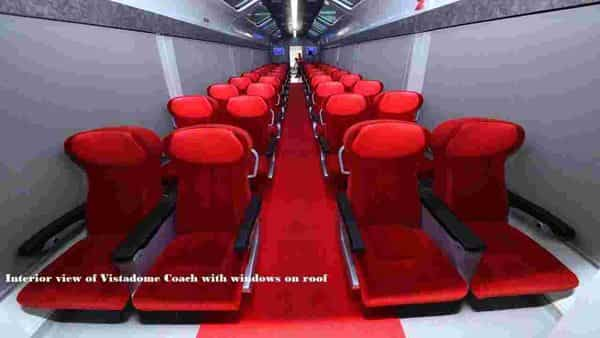Interiors of the Vistadome Coach which has completed a 180 kmph speed trial (Twitter )