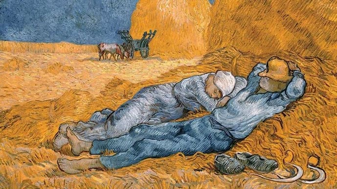 'The Siesta (After Millet)' by Vincent van Gogh, circa 1890. Time clocks for wakefulness and sleep are embedded in our DNA, the building blocks of life that regulate the functioning of different internal organs.