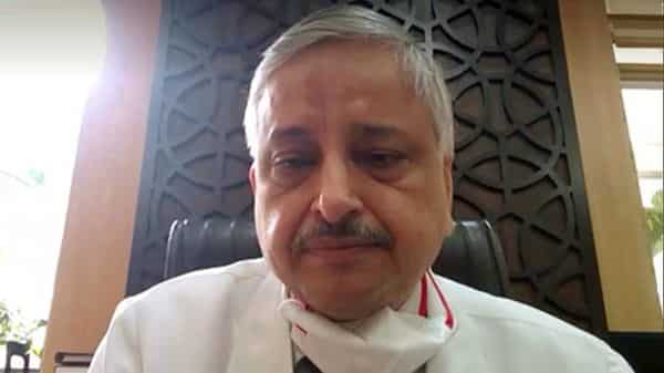 AIIMS director Dr. Randeep Guleria speaks during an interview via video conferencing in New Delhi on Thursday. (ANI Photo)