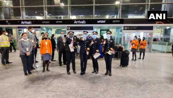 Karnataka: With four women pilots, Air India's longest direct route flight landed at Kempegowda International Airport in Bengaluru from San Francisco, flying over the North Pole and covering a distance of about 16,000 kilometres.