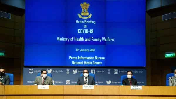 Member (Health), NITI Aayog Dr. Vinod K. Paul along with the Secretary, Ministry of Health & Family Welfare, Rajesh Bhushan, Principal Director General (M&C), Press Information Bureau, Shri K.S. Dhatwalia, the DG, ICMR, Dr. Balram Bhargava and the Joint Secretary, MoHFW, Lav Agarwal addressing a press conference on the actions taken, preparedness and updates on COVID-19, in New Delhi on Tuesday. (ANI Photo)