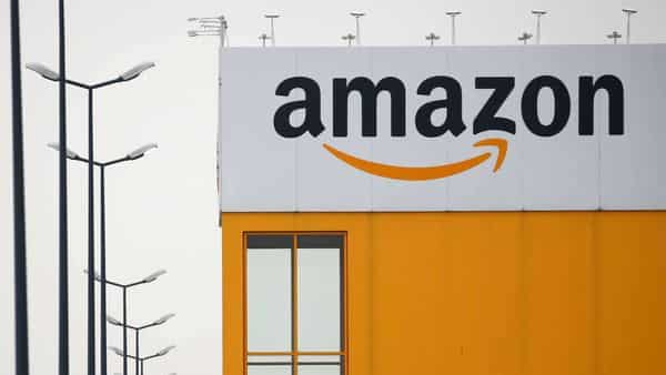 FILE PHOTO: The logo of Amazon is seen at the company logistics center (REUTERS)