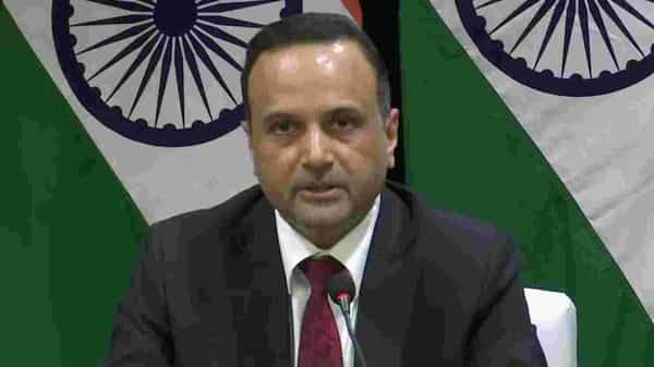 Ministry of External Affairs Spokesperson Anurag Srivastava briefing on 17th ASEAB-INDIA Summit, in New Delhi on Thursday. (ANI Photo)