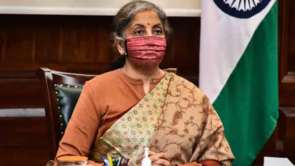 **HANDOUT PHOTO MADE AVAILABLE FROM FINANCE MINISTRY ON TUESDAY, DEC. 22, 2020** New Delhi: Union Finance Minister Nirmala Sitharaman during a pre-budget meeting with industrialists, at North Block in New Delhi, Tuesday, Dec. 22, 2020. (PTI Photo) (PTI22-12-2020_000039B) (PTI)